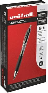 Uni ball Signo 207 Retractable Gel Pen Ultra micro Point Black Ink 12 count