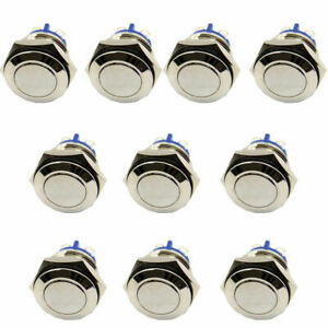 10 Pcs 16 Mm Flush Top Momentary Stainless Steel Metal Pushbutton Switches