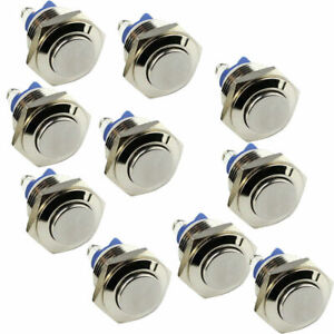 10 Pcs 16 Mm Raised Top Momentary Stainless Steel Metal Pushbutton Switches