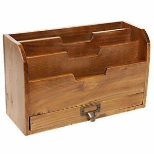 3 Tier Country Rustic Brown Wood Office Desk File Organizer Mail Sorter