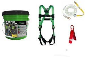 Roofing Safety System Fall Protection Roof Contractor Kit Harness Rope Anchor