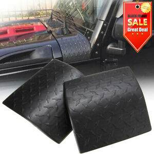 2x Black Cowl Body Armor Cover Diamond Plate Trim For 07 17 Jeep Wrangler Jk Hc
