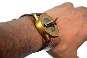 Antique Steampunk Wrist Brass Compass Sundial Watch With Leather Strap Sundial