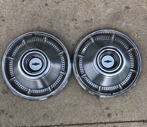 1966 Chevrolet Impala 14 Inch Hub Caps Wheel Covers Pair 2 Blue Chevy