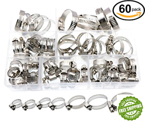 Adjustable Hose Clamps Worm Gear Stainless Steel Clamp Assortment Lot Heavy Duty