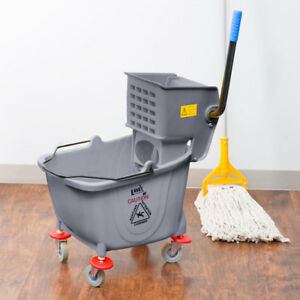 Janitorial Gray Plastic 36 Quart Mop Bucket Wringer Combo