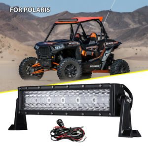 Tri Row 14inch 432w Led Light Bar Combo Fit Polaris Rzr Xp Ranger Utv Atv 4wd 12