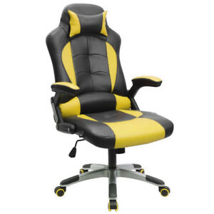 High Back Race Car Style Bucket Seat Office Desk Chair Gaming Chair Yellow Black