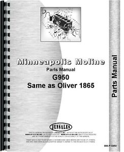 Minneapolis Moline G950 Oliver 1865 Tractor Parts Manual Catalog