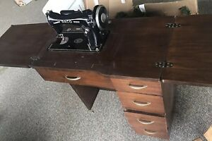 Antique Daco Sewing Machine 5 Drawer Wood Table Cabinet