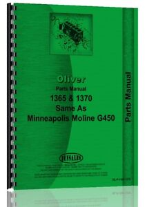 Oliver 1365 1370 Tractor Parts Manual Minneapolis Moline G450 White 2 60