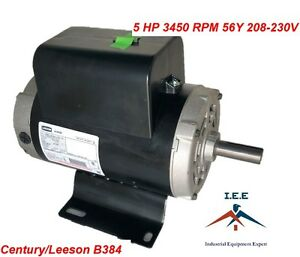 5 Hp 3450 Rpm Air Compressor Electric Motor 60 Hz 208 230 Volts Century B384 56y