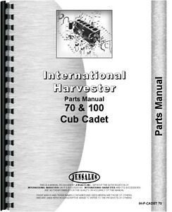International Harvester Cub Cadet 100 70 Lawn Garden Tractor Parts Manual