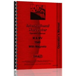 1949 International Harvester M Tractor Operators Manual Early With Magneto