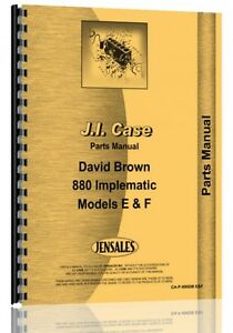 Case David Brown 800f 880e Implematic Diesel Tractor Parts Manual Catalog