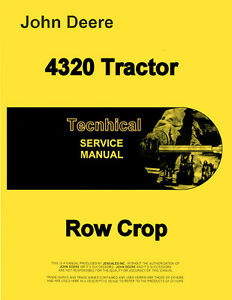 John Deere 4320 Tractor Technical Service Shop Repair Manual Tm1029