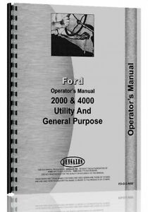1962 1964 Ford 2000 4000 Gas Diesel 4 Cyl Tractor Operators Owners Manual