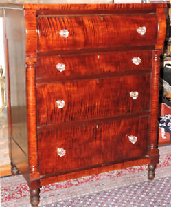 Chest Four Drawers Tiger Maple Great Figure Sheraton 38w 49t C1830