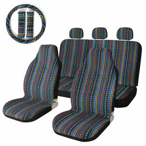 10pcs Universal Baja Car Seat Covers Set For Auto With Steering Wheel Head Rest