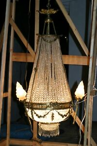 Antique French Large Gilded Bronze Crystal Chandelier Stunning Circa 1880