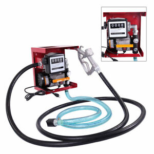 New 110v Electric Oil Fuel Diesel Gas Transfer Pump W meter Hose Manual