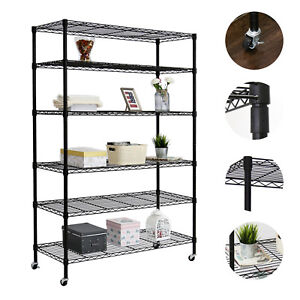 Kinbor 6 tire Storage Shelf Adjustable Rack Steel Shelving Heavy Duty W wheels