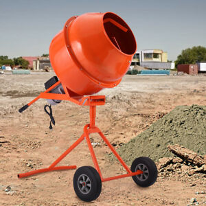 Portable Electric Cement Mixer Concrete Motar 5 Cubic Ft 1 2hp Drum Construction