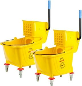 2 Pack Lavex Janitorial Yellow 36 Quart Mop Bucket Wringer Combo Commercial