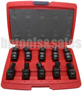 10 pc 3 8 Dr Metric Shallow Universal Impact Ball Swivel Socket Set