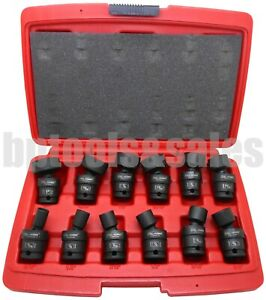 12 Pc 3 8 Dr Sae Shallow Universal Impact Ball Swivel Socket Set