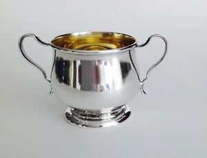 Sterling Silver Sugar Bowl By Lunt Gold Wash 1133