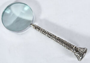 Magnifying Glass Mounted Handle From Antique Sterling Silver Cane Top Or Parasol