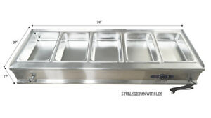 74 5 pan Restaurant Steam Table Bain marie Buffet Food Warmer Brand New
