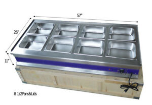 57 8 pan Hot Well Bain Buffet Food Warmer Steam Table 110v1800w Reataurant New