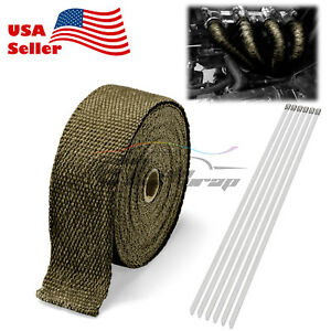 Titanium Exhaust Pipe Insulation Thermal Heat Wrap 2 x50 Motorcycle Header