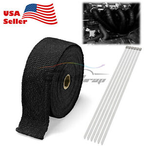 Black Exhaust Pipe Insulation Thermal Heat Wrap 2 X 50 Motorcycle Header