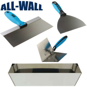 Ox Pro Drywall Finish Set W Stainless Pan 6 12 Joint Knives Corner Trowel