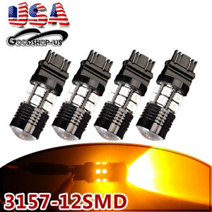 4x Amber Yellow 3157 3156 High Power 7w Led Led Interior Light Bulbs 4057 4157