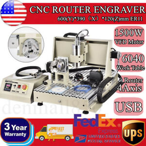 Usb Cnc Router Engraver 4axis 1500w Vfd 6040 Working Table Mach3 Pcb Milling