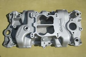Early Edelbrock Performer Intake Manifold With Big Runners 2101 Sb Chevy Sbc