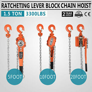 Chain Lever Hoist Come Along Ratchet Lift 1 5 Ton Capacity 0 Ship 5 10 20 Ft