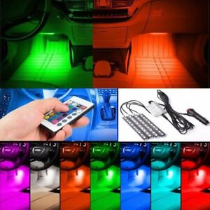4pack 9led Car Interior Atmosphere Neon Lights Strip Wireless Ir Remote Control