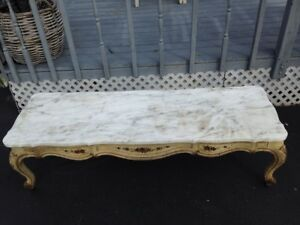 Antique Vintage Marble And Wood Table