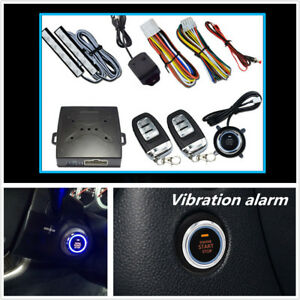 Car Keyless Entry Engine Start Vibration Alarm System Push Button Remote Starter