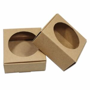 Brown Kraft Paper Box With Hollow Out Window Foldable Recyclable For Gift Favor