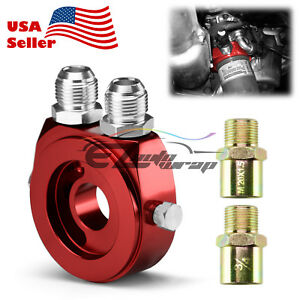 Red Oil Filter Temp Pressure Oil Cooler Sandwich Plate M20x1 5 Adapter Sensor