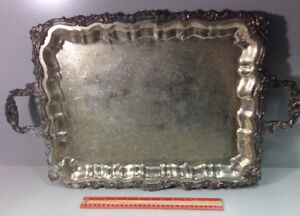 Sheridan Silverplated Serving Tray Footed With Handles 20 X 16