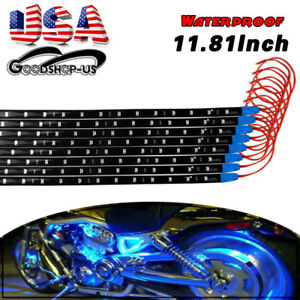 8x Blue 15led 30cm Waterproof Car Motor Truck Decor Flexible Light Strip Bar 12v