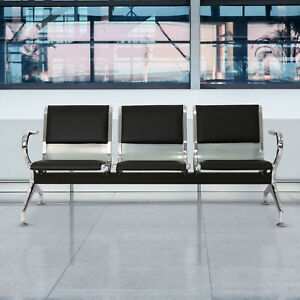 Kinbor 3 seat Pu Leather Steel Waiting Chairs Airport Bank Waiting Room Seating