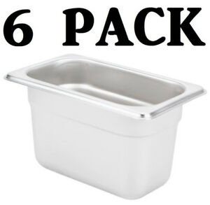 6 Pack 1 9 Size Stainless Steel 4 Deep Steam Prep Table Food Pan Buffet Hotel